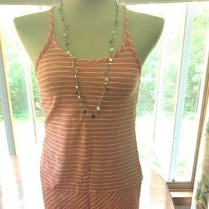 Loft Coral Striped Dress